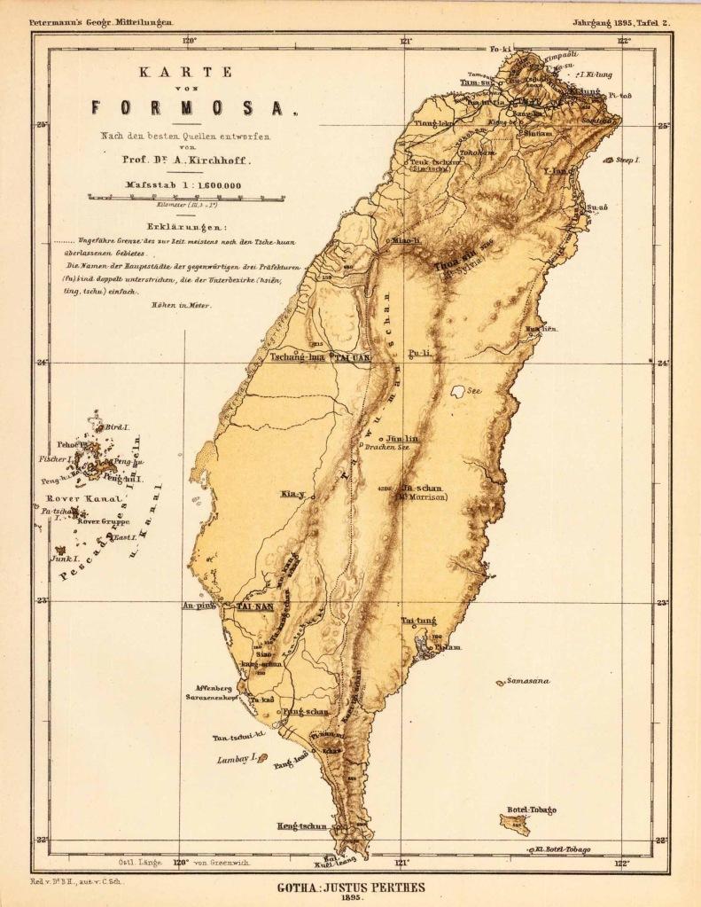 1895 German map of Taiwan (Formosa)
