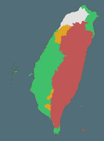 Map showing distribution of Taiwan's linguistic communities