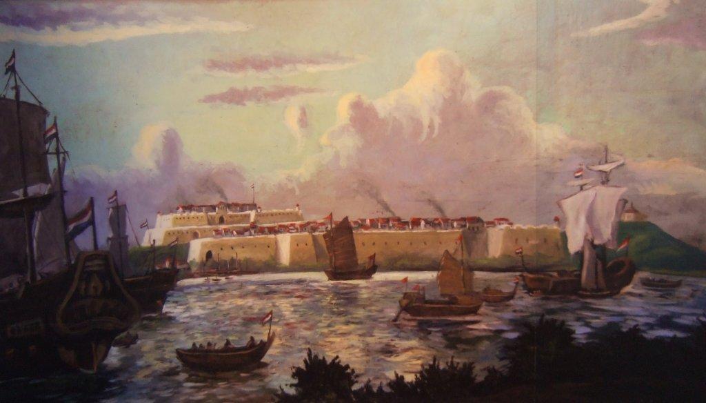 Mural of the 17th-century Dutch Fortress—Fort Zeelandia—in southwestern Taiwan.