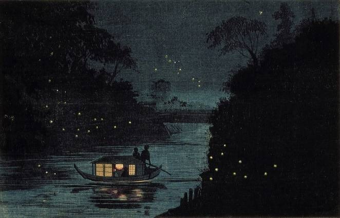 Asian painting with fireflies