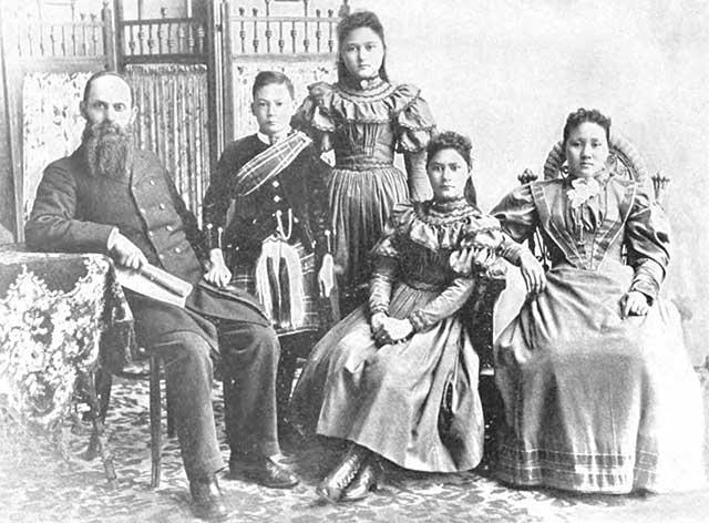 The Mackay family in Victorian attire.